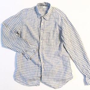 UNIQLO men's linen blue white plaid linen shirt L